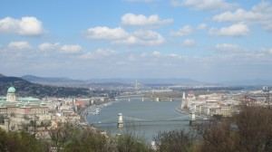The Danube river separates Buda and Pest.